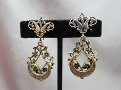 VTG Victorian Inspired Dangle Earrings Silver Tone Screw Back Half Moon Crescent #Un #DropDangle
