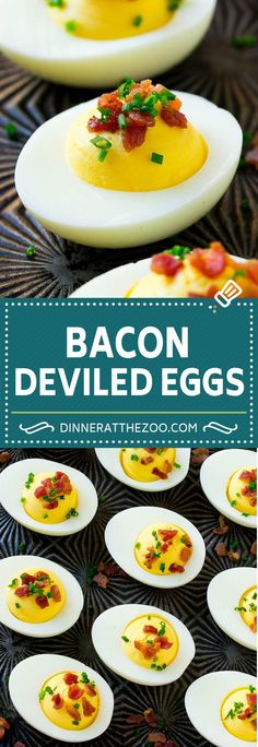 These easy bacon deviled eggs are a classic recipe dressed up with the addition of bacon bits and chives. Learn my tricks for the best deviled eggs ever! Cold Appetizers, Easy Appetizer Recipes, Appetizers For Party, Dinner Recipes, Bacon Deviled Eggs, Deviled Eggs Recipe, Egg Recipes, Quick Recipes, Delicious Recipes