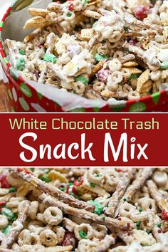 christmas snacks This White Chocolate Christmas Trash is a Snack Mix recipe with pretzels, cereal, candy tossed together with chocolate. Quick, easy and an addicting treat. Christmas Snack Mix, Christmas Crunch, Christmas Chocolate, Christmas Recipes, Christmas Cookies, Christmas Trash Recipe, Christmas Desserts, Christmas Baking, White Chocolate Christmas Crack Recipe