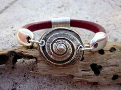 Bronze Bronzclay Spiral Shell Licorice Leather by BeachSoulDesigns, $45.00