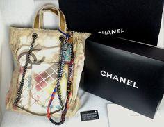 100% Authentic CHANEL Multicolor Graffiti Denim Canvas Tote Shoulder Bag NEW…