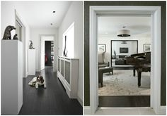 Extended hallway with the owners' pet dog : The grand piano provides a focus from the hallway