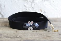 Black elastic waist belt dark blue belt silver by SharonTasker