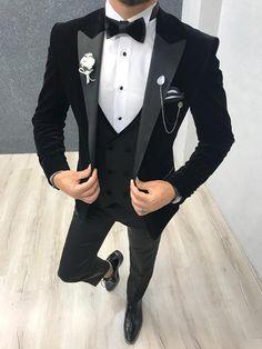 Men Velvet blazer Black New Arrival Dinner Jacket One Button, Elegant Hosting Evening Party Wear Smoking Jacket Slim Fit Tuxedo, Tuxedo Suit, Tuxedo Jacket, Tuxedo For Men, Wedding Men, Wedding Suits, Wedding Groom, Wedding Tuxedos, Wedding Poses