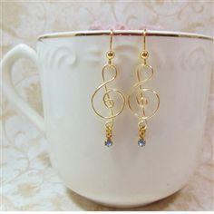 Wire Design by Javi, G Clef Music Earrings, Handmade, Gold Tone w Light Blue Rhinestone Drop