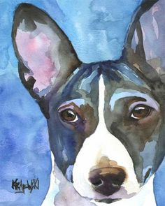 Basenji Art Print of Original Watercolor Painting  by dogartstudio