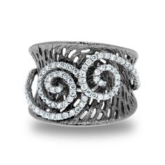 Gabriel & Co. - 14kt White Gold Diamond & Black Rhodium Enhanced Ring