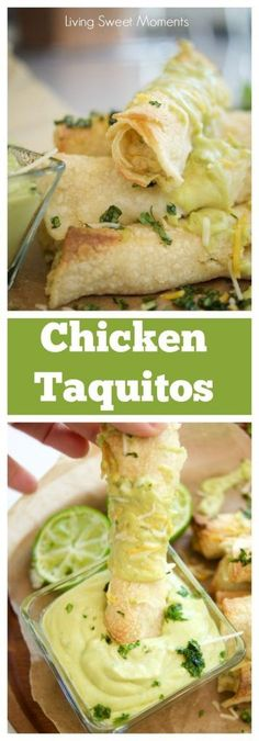 This delicious Baked chicken taquitos recipe is easy to make and yummy. The Chicken is baked with cheese and salsa verde sauce on a crispy tortilla for a quick weeknight dinner idea that the whole fam (Mexican Chicken Taquitos) Taquitos Recipe, Chicken Taquitos, Baked Taquitos, Chicken Tacos, Quick Easy Meals, Easy Dinner Recipes, Appetizer Recipes, Appetizers, Mexican Dishes