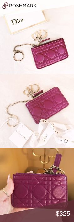 ca82cc37c01 Dior Lady Rare Cannage Key Pouch / Bag Charm Authentic Dior Lady Purple  Cannage