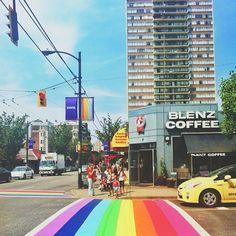 Rainbow colored crosswalks in Vancouver in honour of Pride Week 2013. Great capture by @Tia Lappe K!