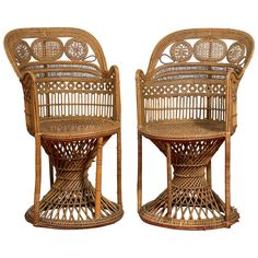 Manufacture of Perret & Vibert, Pair of Rattan Chairs, circa 1890 | 1stdibs.com