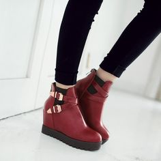 4792839c39ee Metal Buckle Ankle Boots Wedges Shoes Fall