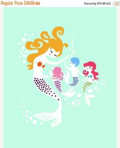 SPRING SALE 8X10 mermaid mother with 1 boy and 2 by ThePaperNut