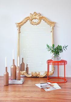 FOXYOXIE.com used our Howard Elliott Roman Mirror to create this glorious DIY look. You need to pin this!  FOXYOXIE.com DIY Mirror Makeover- Stencil Your Favorite Quote on a Mirror