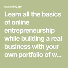 Learn all the basics of online entrepreneurship while building a real business with your own portfolio of websites. - Free Course
