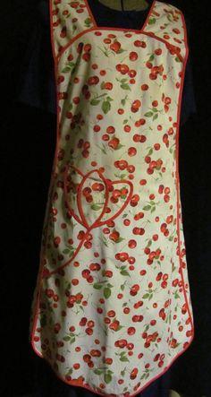 Vintage 60s Handmade Full Dress Red Cherries Ladies Apron Red Bias Trim Retro. $18.00, via Etsy.