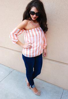 StyleSaysShop - Coral Vertical Stripe Print Off Shoulder Blouse, $36.00 (http://www.stylesaysshop.com/coral-vertical-stripe-print-off-shoulder-blouse/)