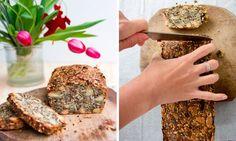 Domácí bezlepkový chleba – ořechy, semínka, cibule Food Hacks, Banana Bread, Foodies, Healthy Recipes, Healthy Food, Food And Drink, Low Carb, Gluten Free, Snacks