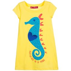 Girls, bright yellow, short-sleeved dress byAgatha Ruiz de la Prada, made with soft cotton jersey in at-shirt style. I<span>t has a blue and red fabric seahorseappliqué with embroidered details and the designer's name on the front.<br /></span> <ul> <li>100% cotton (soft cotton jersey)</li> <li>Machine wash (30*C)</li> <li>Knee length</li> <li>Loose fit</li> <li>True to size</li> </ul>