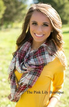 Holiday Cheer Plaid Scarf - The Pink Lily Boutique