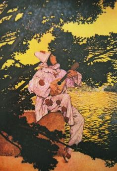 Pierrot's Serenade by Maxfield Parrish, 1908. Oiginally appeared in Collier's magazine