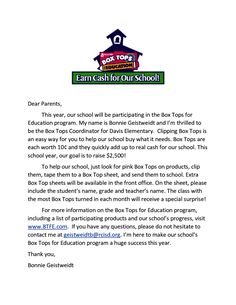 box tops flyers for parents - Google Search
