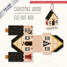 diy box Christmas House Cut-Out Box - with ready t - Noel Christmas, Christmas Paper, Christmas Projects, Christmas Ornaments, Xmas, Christmas Templates, Christmas Printables, Vector Christmas, Paper Toys