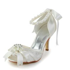 """Graceful Women's Weddding Shoes With Artificial Pearls and Bowknot Design Color: WHITE, BEIGE, CHAMPAGNE, BLACK, RED, SILVER Size: 34, 35, 36, 37, 38, 39, 40, 41, 42 Category: Wedding & Events > Wedding Shoes   Gender: Women  Toe Style: Open Toe  Toe Shape: Peep Toe  Shoe Width: Medium(B/M)  Heel Type: Stiletto Heel  Heel Height Range: High(3-3.99"""")  Embellishment: Bow  Occasion: Wedding  Upper Material: Lace    #laceweddingshoescheap #laceshoes #weddingshoes #cheapshoes #bridgat.com"""