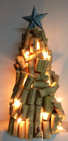 Wine Cork Lighted Christmas Tree with Glittery Silver Star Topper