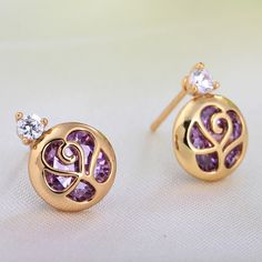 10mm 18K Gold Plated Fashion Hollow Rose Flower Inlaid Zircon Ladies Copper Earrings