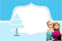 Veja esse lindo kit de personalizados para festa infantil com o tema Frozen Azul para você imprimir de graça com vários convites,rótulos e caixinhas