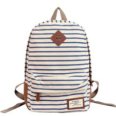 Stripes Printed Blue Canvas Backpack 0627013