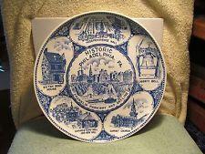 "10"" diameter delft blue ""Historic Philadelphia, Pa"" souvenir collector plate."