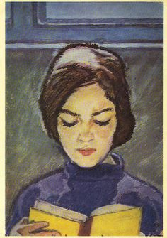 V. Vlasov (1927-1999) - Girl with book, 1966  I love this simple drawing will use as an example in art class