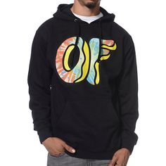 Get fitted like Tyler and the crew with the Odd Future Awesome Donut black pullover hoodie. This standard fit guys pullover hooded sweatshirt features a large OF donut tie dye screen print logo graphic at the chest, adjustable drawstring hood for warmth, soft fleece lining for comfort, and a kangaroo front pouch pocket for your goodies. Wild out in OFWGKTA style in the comfortable Odd Future Awesome Donut black pullover hoodie.