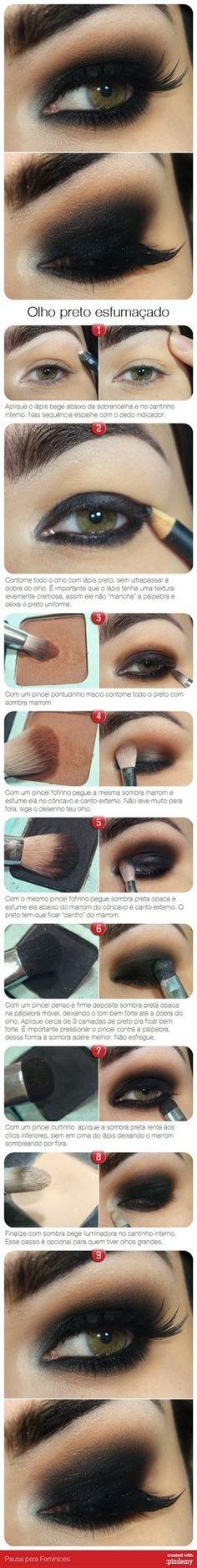 Olho preto esfumado | Eye makeup | Smokey Eye, Eyes and Natural Eyelash Growth