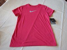 Nike Dri Fit active Swoosh shirt youth XL girls 392389 626 fuschia pink NWT*^ #Nike