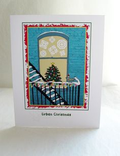 """$4.00 """"Urban Christmas"""" greeting card. This is Percival Featherington III's very first appearance, back then he was only known as """"Mr. Pigeon."""""""