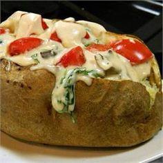 ✨Stuffed Alfredo Baked Potatoes.✨ #Food #Drink #Trusper #Tip