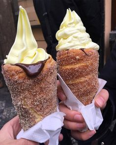 Cinnamon-sugar doughnut ice cream cones, lined with Nutella, from Prague's Good Food Coffee and Bakery. Cinnamon-sugar. A riff on trdelníks, a traditional Czech pastry made from grilled dough. Churros
