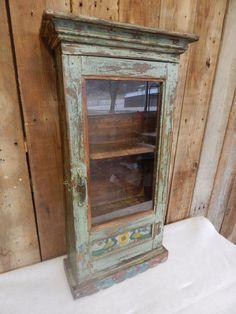 Primitive Antique Glass Door Wooden Cabinet Shabby Painted Vintage 0428