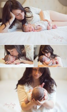 Mommy with newborn daughter. Stunning moments.