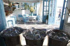 Bar Decor, Mediterranean Interior Design, Mykonos Bar  #capriceofmykonos #capricebar #mykonosbar #aegeanstyle #littlevenicemykonos #visitmykonos #interiordesign #traveldestinations #summer Mykonos, Natural Interior, Cool Bars, Interiores Design, Blueberry, Fruit, Simple, Food, Berry