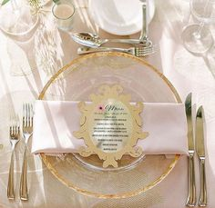 Our Gold Rim Chargers are elegant and sophisticated, the perfect complement to this beautiful mirror-inspired menu card! Many thanks to Nuage Designs, Inc., Four Seasons Resort Orlando at Walt Disney World Resort and Très Chic Southern Weddings & Events.
