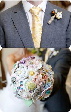 Non-floral button flower bouquet and boutonierre