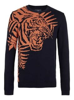 blue and orange tiger motif knitted crew neck jumper. 100% cotton. machine washable. $64.00 by topman