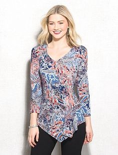 Paisley Shimmer Faux Wrap Top