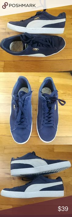 Men's Classic Suede Puma Sneakers LIKE NEW Men's Classic Suede Puma Sneakers LIKE NEW Excellenr condition! Only worn maybe twice. Classic blue suede Puma Shoes Athletic Shoes