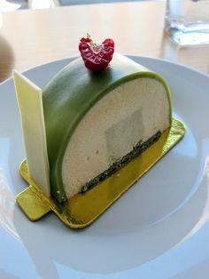 """""""Sasha"""" a Japanese inspired cake with white chocolate & tofu Cream, edamame purée and a green tea cookie"""