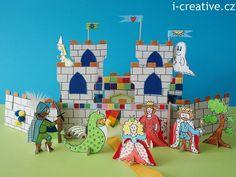 Hrad a pohádkové postavy z kartonu.